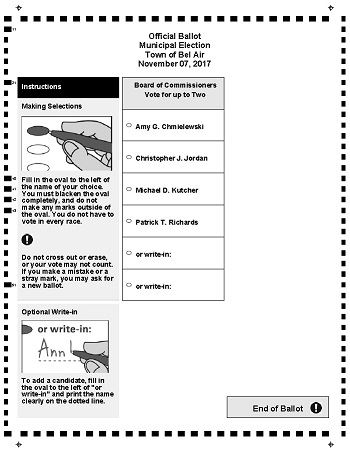 2017 Bel Air Municipal Election Official Ballot v2