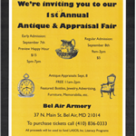 Antique Appraisal flyer (Sept 7 and 8, 2018)